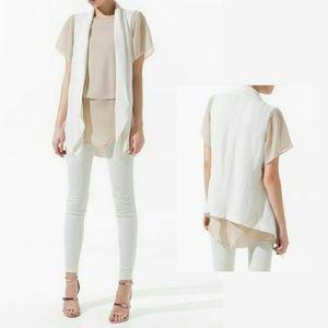 Zara Long White Tuxedo Vest